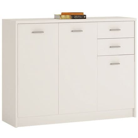 4 You 3 Door 2 Drawer Wide Cupboard in Pearl White